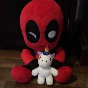 "Marvels 14"" vibrating Deadpool on a unicorn plush"